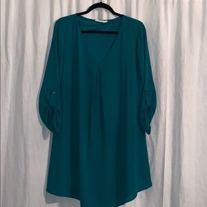 LUSH turquoise shift dress 3/4 sleeves size Large